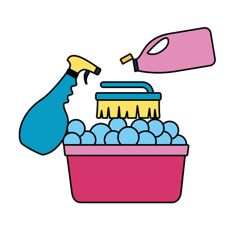 washing bucket brush spray bottle spring cleaning tools vector illustration