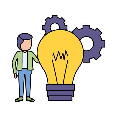 businessman bulb creativity gears work vector illustration vector illustration