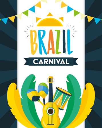 guitar and drum maracas feathers brazil carnival festival celebration poster vector illustration 일러스트