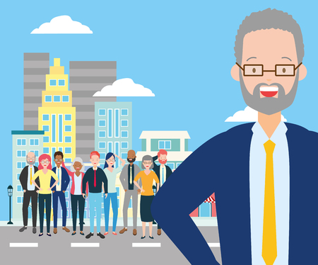 diversity man and crowd characters in the city street vector illustration Banque d'images - 121968058