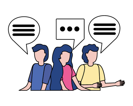 group people speech bubble on white background vector illustration 向量圖像