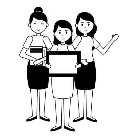 women and girl school blackboard books teachers day card vector illustration Ilustração