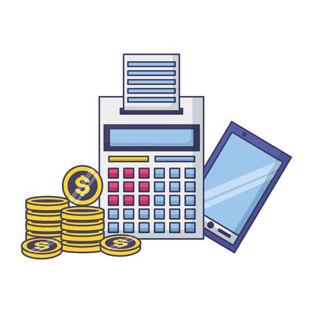 calculator smartphone coins money tax payment  vector illustration Çizim