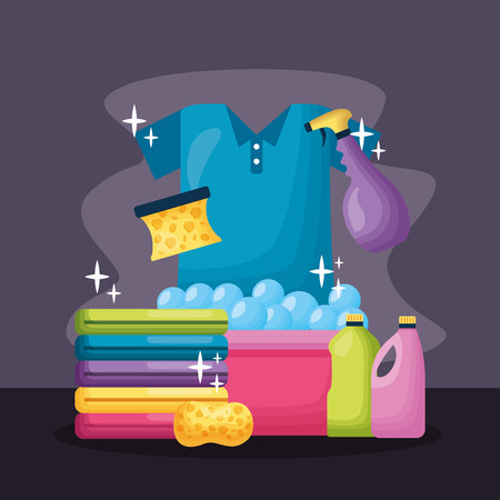 laundry bucket sponge liquid soap spring cleaning tools vector illustration