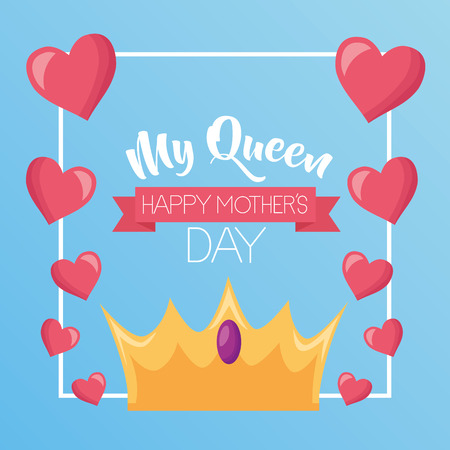 mothers day flowers crown hearts badge decoration vector illustration