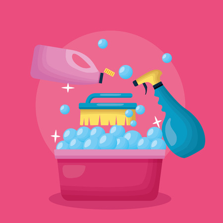 washing bucket brush spray bottle spring cleaning tools vector illustration