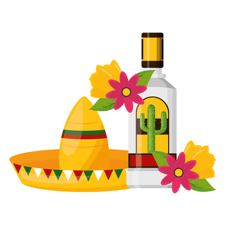 mexican hat traditional tequila hat flowers vector illustration 写真素材 - 122645804