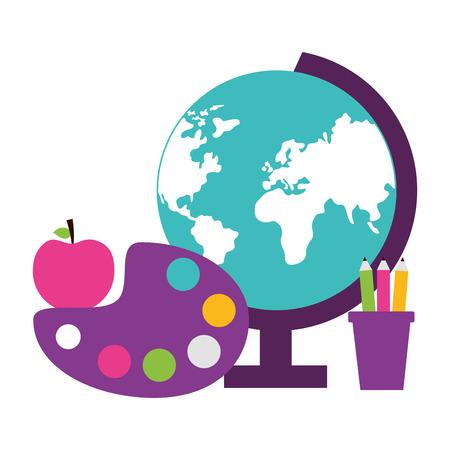 school globe apple pencils art palette teachers day vector illustration Illustration