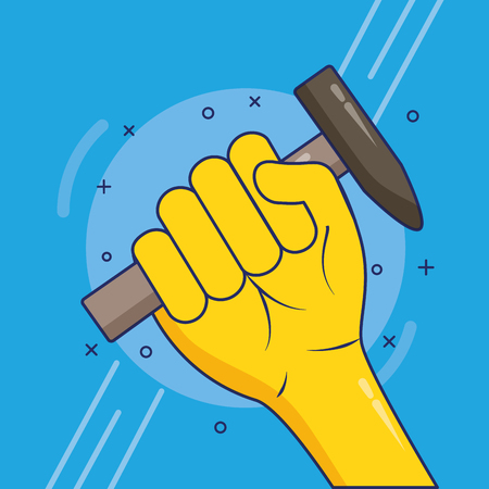 hand with hammer labour day vector illustration