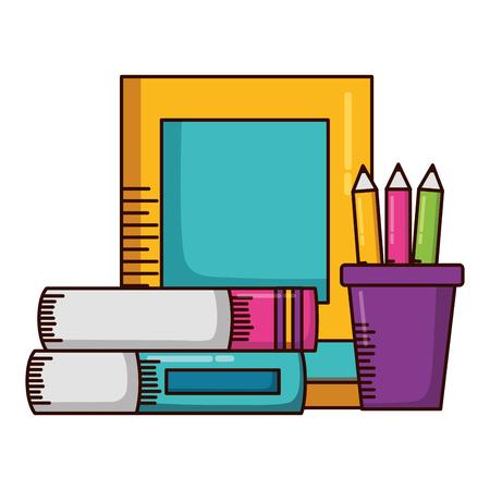 books color pencils school supplies vector illustration design