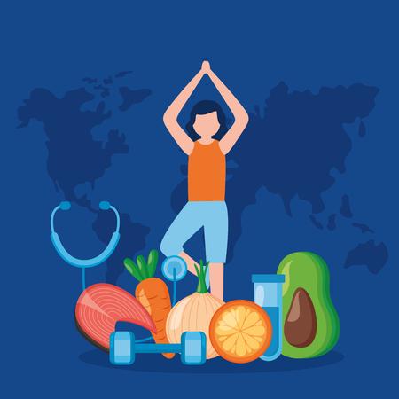 woman food yoga world health day vector illustration Vectores