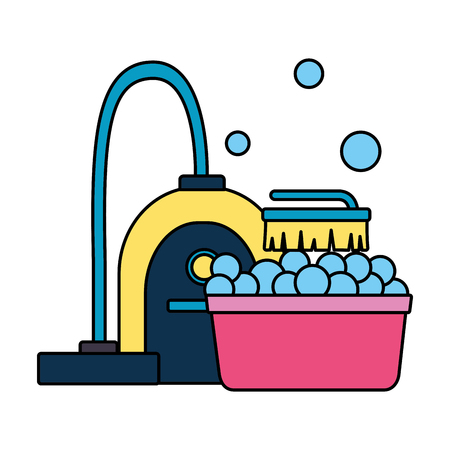 vacuum brush washing bucket spring cleaning tools vector illustration