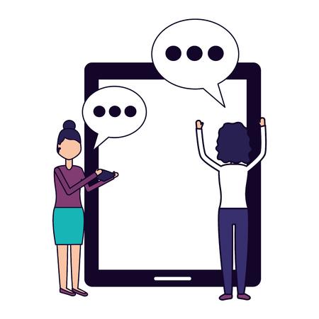 Mujeres teléfono inteligente mensaje de chat social media ilustración vectorial