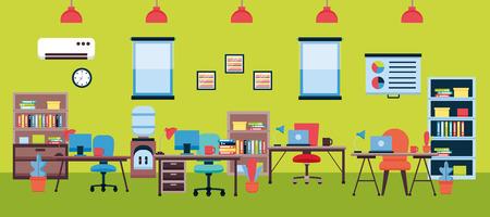 bureau, intérieur, lieu de travail, meubles, vecteur, illustration, conception Vecteurs