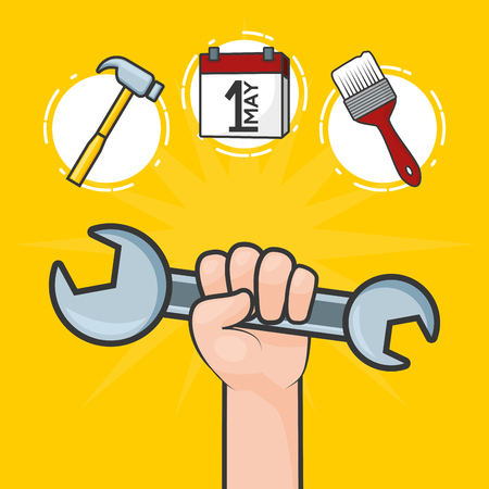 happy labour day hand with spanner tools vector illustration Çizim