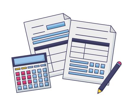 tax payment document calculator pen vector illustration Foto de archivo - 122645861