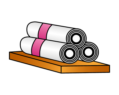 towels in wooden spa treatment therapy vector illustration Ilustração