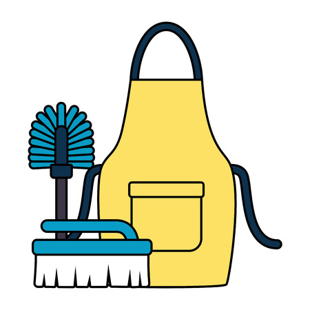 apron toilet brush spring cleaning tools vector illustration