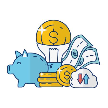 piggy bank cloud storage money idea online payment vector illustration