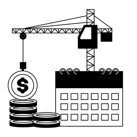 crane calendar coins money tax time payment vector illustration