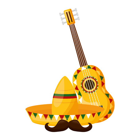 hat guitar mustache mexico cinco de mayo vector illustration