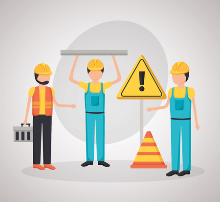 workers construction toolbox warning board equipment vector illustration