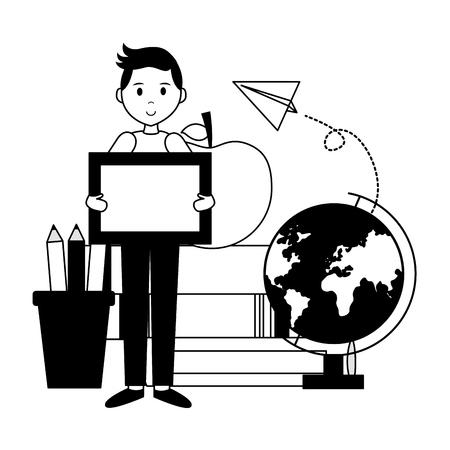 boy school blackboard globe apple books teachers day card vector illustration Stock Vector - 121970066