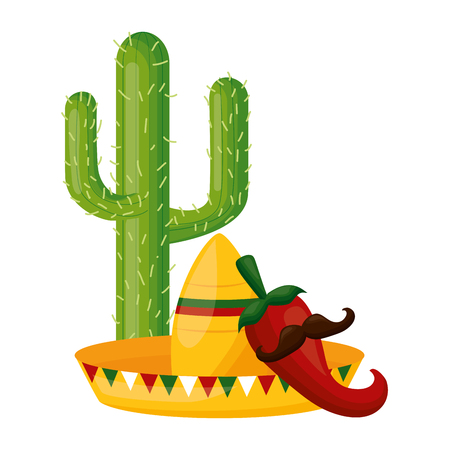 cactus hat jalapeno with mustache cinco de mayo vector illustration