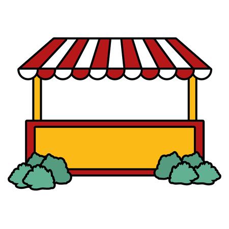 booth carnival bushes on white background vector illustration design
