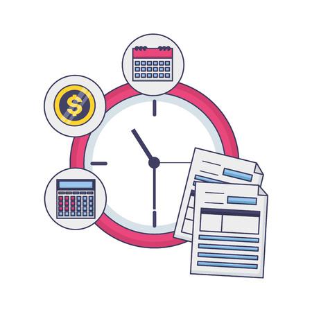 tax payment document clock time vector illustration Иллюстрация