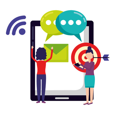 people smartphone target email message social media vector illustration