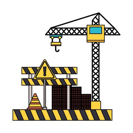 crane barrier wall bricks tool construction equipment vector illustration