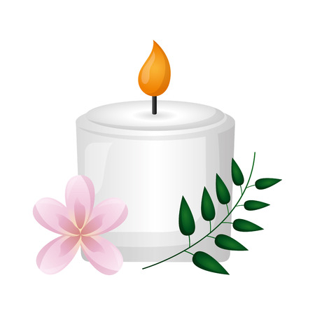 candle flowers spa treatment therapy vector illustration Stock Vector - 122645944