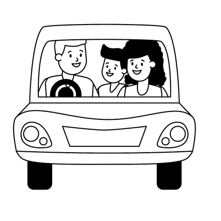 family parents and kid in the car vector illustration design