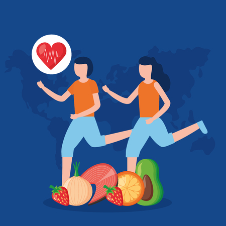 man and woman training exercise world health day vector illustration Illustration