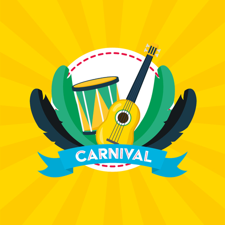 guitar and drum feathers music brazil carnival festival vector illustration