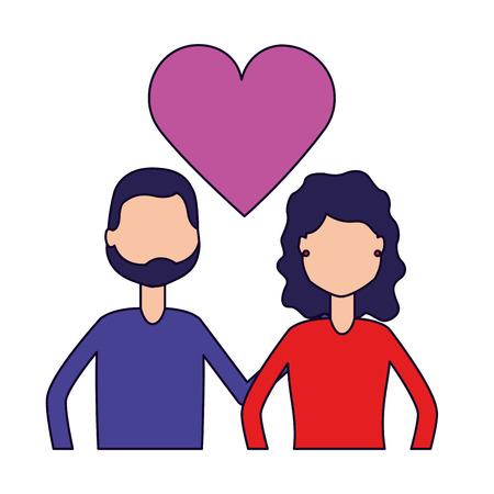 couple relation romantic love hearts vector illustration Stock Illustratie