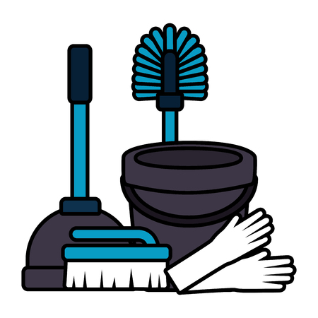 bucket gloves brsuh plunger spring cleaning tools vector illustration Illustration