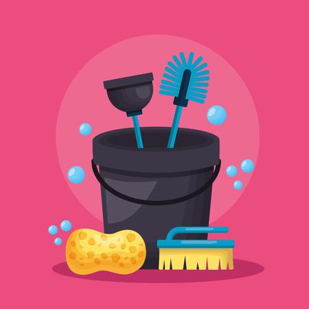 bucket sponge brush plunger spring cleaning tool vector illustration 写真素材 - 122645969