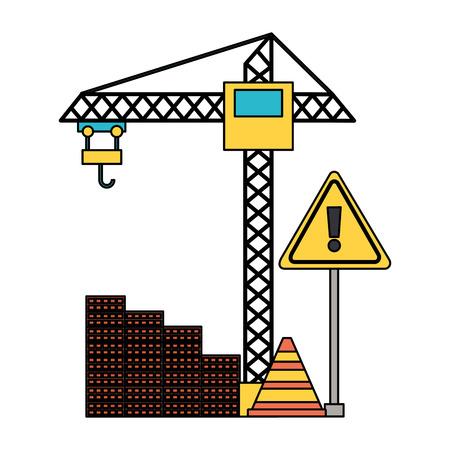 building barrier crane warning construction equipment vector illustration Illustration