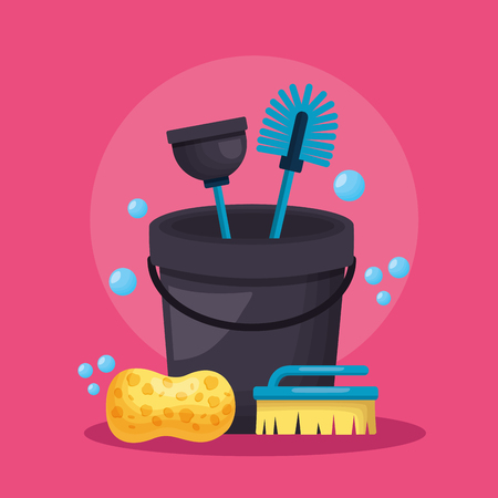 bucket sponge brush plunger spring cleaning tool vector illustration Stock Vector - 122645974