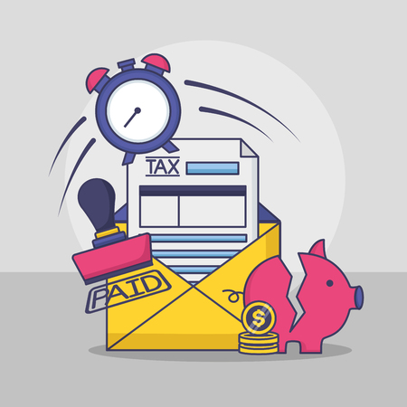 piggy bank clock money paid stamp tax payment vector illustration