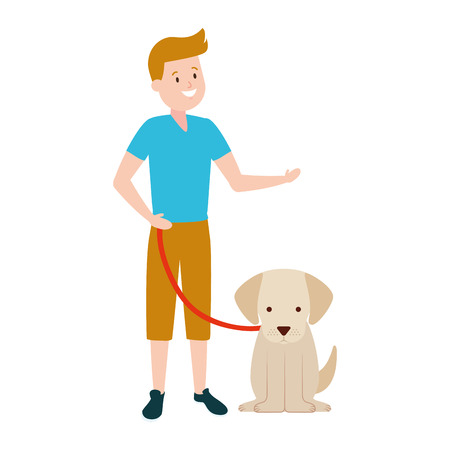 boy with his dog domestic vector illustration Фото со стока - 122645993