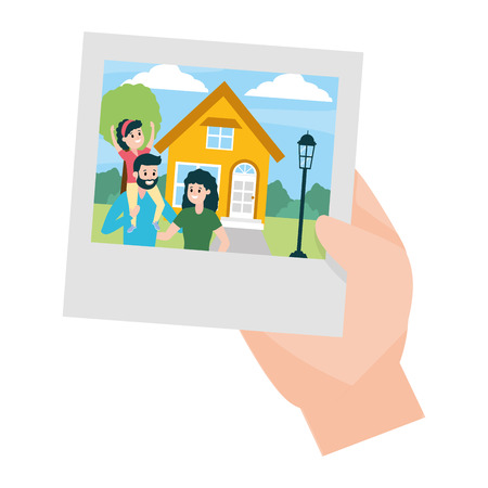 hand with family house photo vector illustration design Standard-Bild - 122645998
