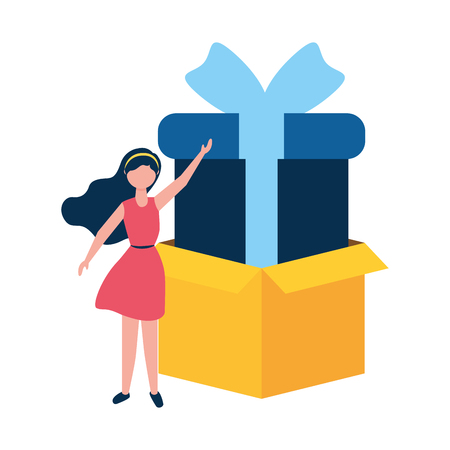 woman online shopping cardboard box and gift vector illustration Stock Vector - 122646030