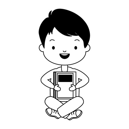 boy holding textbook - world book day vector illustration