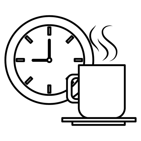 clock time coffee cup vector illustration design  イラスト・ベクター素材