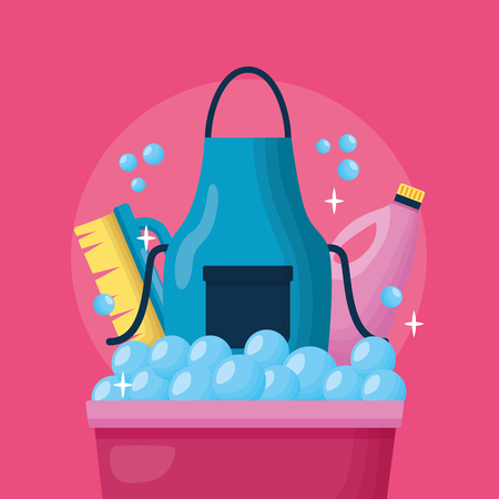 washing bucket apron brush bottle spring cleaning tools vector illustration Иллюстрация