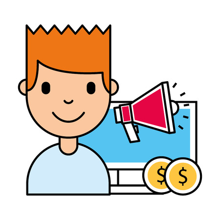 man computer speaker money business investment vector illustration