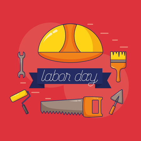 helmet wrench brush saw trowel tool labour day vector illustration